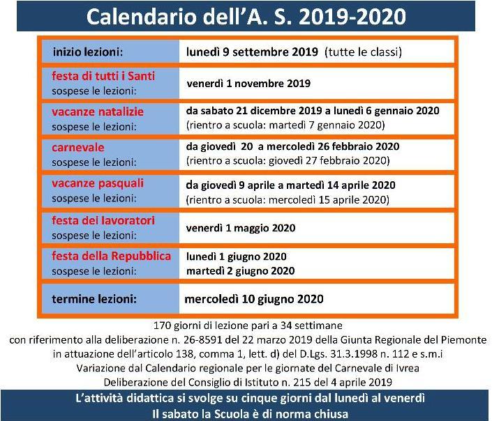 Calendario Esami Stato 2020.Calendario Dell Anno Scolastico 2019 2020 Liceo Botta