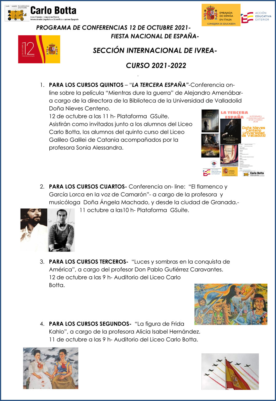 La Sezione Internazionale Spagnola del Liceo Carlo Botta celebra la festa nazionale di Spagna